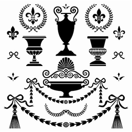 elakwasniewski (artist) - Set of classic style ornaments, isolated on white, full scalable vector graphic for easy editing and color change, included Eps v8 and 300 dpi JPG Stock Photo - Budget Royalty-Free & Subscription, Code: 400-04762306