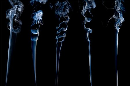 smoke magic abstract - five different separate wisps of smoke on black; Stock Photo - Budget Royalty-Free & Subscription, Code: 400-04762585