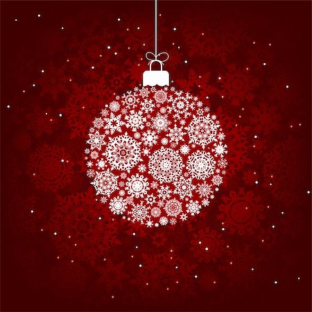 Christmas decoration made from red and white snowflakes. EPS 8 vector file included Stock Photo - Budget Royalty-Free & Subscription, Code: 400-04762682