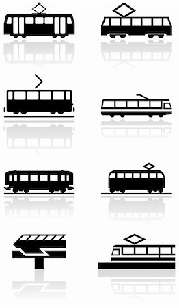 Vector set of different train illustrations or symbols. All vector objects are isolated. Colors and transparent background color are easy to adjust. Stock Photo - Budget Royalty-Free & Subscription, Code: 400-04762724