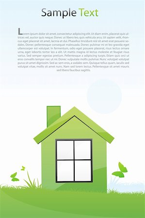 illustration of green house with light background Stock Photo - Budget Royalty-Free & Subscription, Code: 400-04763783
