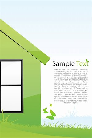 illustration of green house with sample text Stock Photo - Budget Royalty-Free & Subscription, Code: 400-04763790