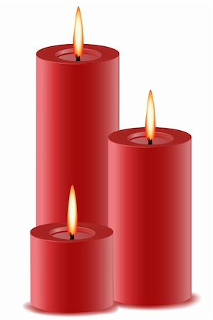 illustration of set of burning candles on isolated background Stock Photo - Budget Royalty-Free & Subscription, Code: 400-04763858