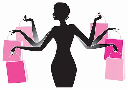 Vector silhouette of a woman with many shopping bags Stock Photo - Budget Royalty-Free & Subscription, Code: 400-04774102
