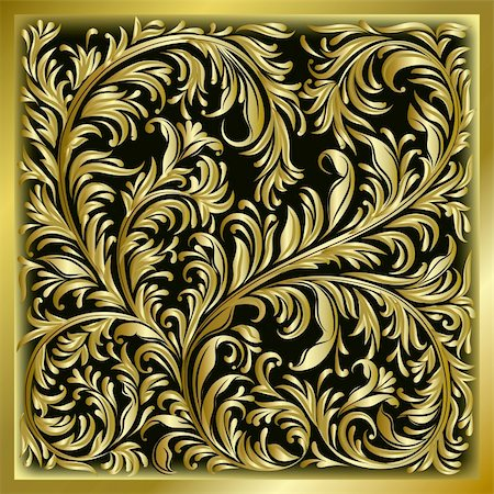 abstract background with gold floral ornament on black Stock Photo - Budget Royalty-Free & Subscription, Code: 400-04774230