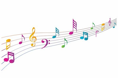 illustration of colorful music icons on white background Stock Photo - Budget Royalty-Free & Subscription, Code: 400-04777966