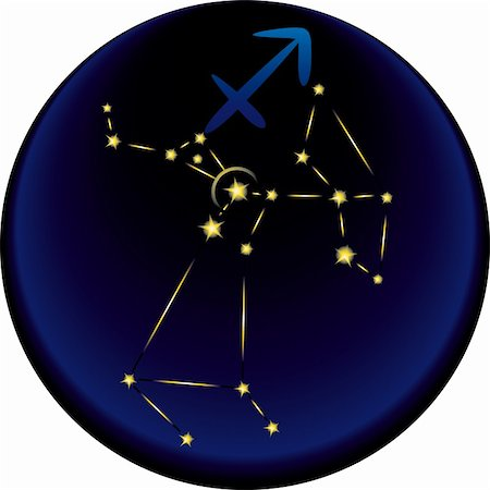 Sagittarius constellation plus the Sagittarius astrological sign Stock Photo - Budget Royalty-Free & Subscription, Code: 400-04778143