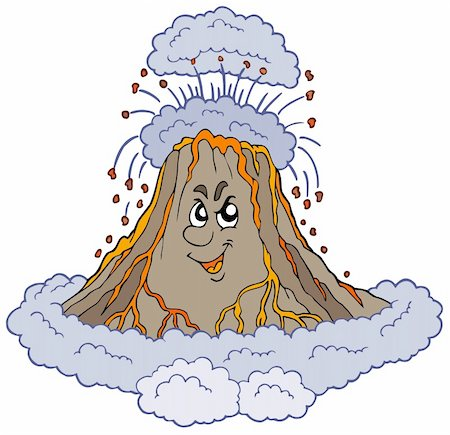 Angry cartoon volcano - vector illustration. Stock Photo - Budget Royalty-Free & Subscription, Code: 400-04770177