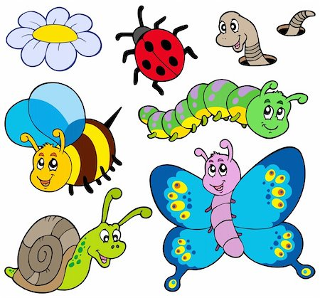Garden animals collection - vector illustration. Stock Photo - Budget Royalty-Free & Subscription, Code: 400-04770186