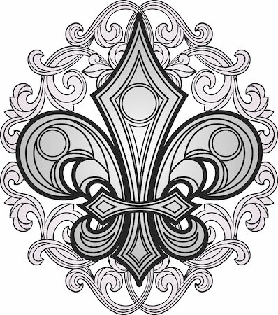 drawn curved - fleur de lis emblem shield Stock Photo - Budget Royalty-Free & Subscription, Code: 400-04770531