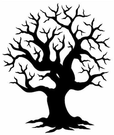 Hollow tree silhouette - vector illustration. Stock Photo - Budget Royalty-Free & Subscription, Code: 400-04770638