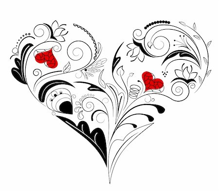 plant leaf paintings graphic - Vector picture of black heart with floral ornament Stock Photo - Budget Royalty-Free & Subscription, Code: 400-04771479