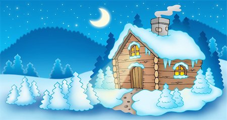 Winter landscape with small cottage - color illustration. Stock Photo - Budget Royalty-Free & Subscription, Code: 400-04771616