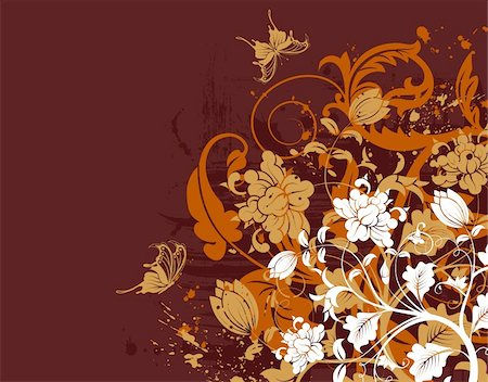 simsearch:400-04290504,k - Grunge floral background with butterfly, element for design, vector illustration Stock Photo - Budget Royalty-Free & Subscription, Code: 400-04771648