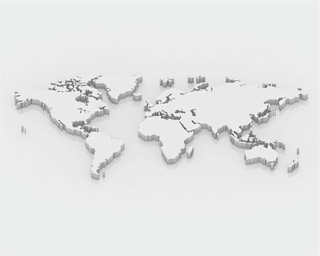 3d white map world Stock Photo - Budget Royalty-Free & Subscription, Code: 400-04772119