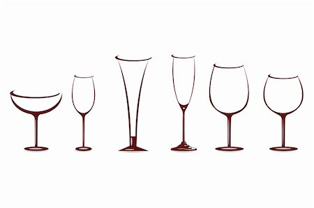 illustration of shapes of wine glasses on white background Stock Photo - Budget Royalty-Free & Subscription, Code: 400-04772699