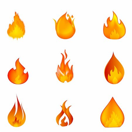 illustration of shapes of fire on white background Stock Photo - Budget Royalty-Free & Subscription, Code: 400-04772705