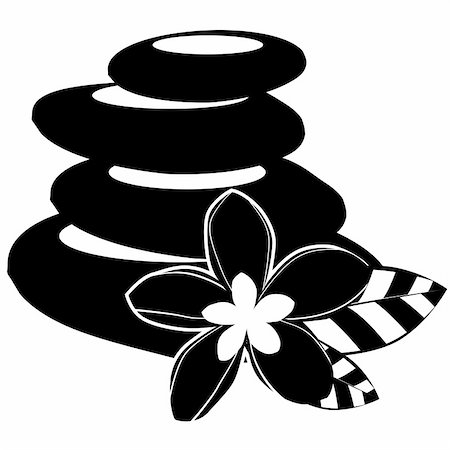 Stylized flowers and spa stones on white background Stock Photo - Budget Royalty-Free & Subscription, Code: 400-04772740