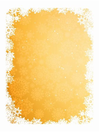 Gold frame with gold snowflakes. EPS 8 vector file included Stock Photo - Budget Royalty-Free & Subscription, Code: 400-04784435