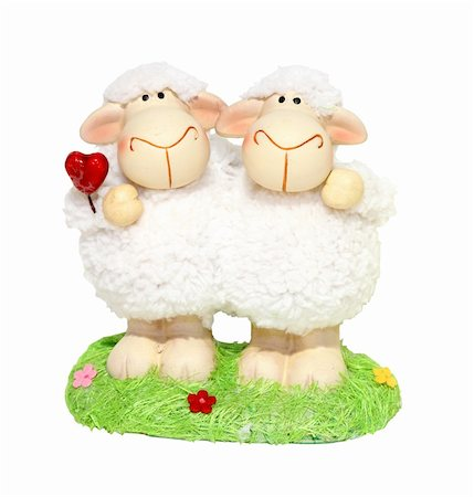 Decorative Valentine sheep figurine isolated with clipping path included Stock Photo - Budget Royalty-Free & Subscription, Code: 400-04785046