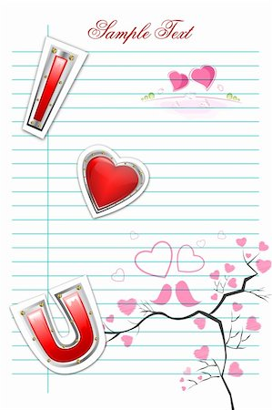 illustration of valentine card on white background Stock Photo - Budget Royalty-Free & Subscription, Code: 400-04786393