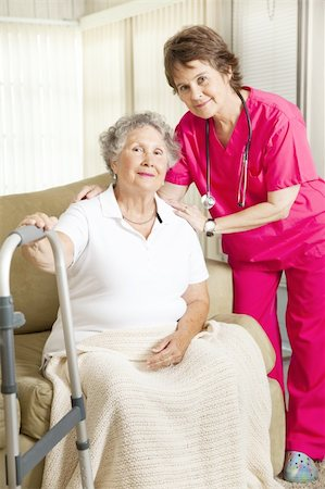 Dignified senior woman in a nursing home, with a caring nurse. Stock Photo - Budget Royalty-Free & Subscription, Code: 400-04787716