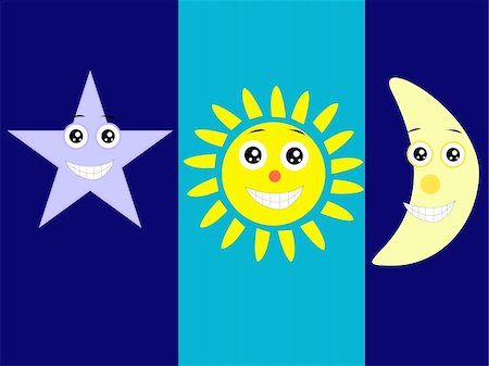 fireworks with yellow and green background - cartoon characters of moon, star and sun Stock Photo - Budget Royalty-Free & Subscription, Code: 400-04788132