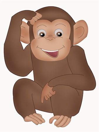 smiling chimpanzee - Illustration of cute smiling monkey over white Stock Photo - Budget Royalty-Free & Subscription, Code: 400-04788180