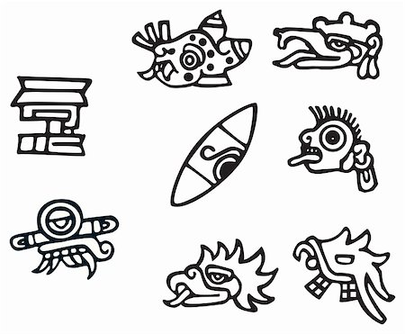 Mayan symbols, great artwork for tattoos, lots of Inca signs and symbol. Stock Photo - Budget Royalty-Free & Subscription, Code: 400-04788918
