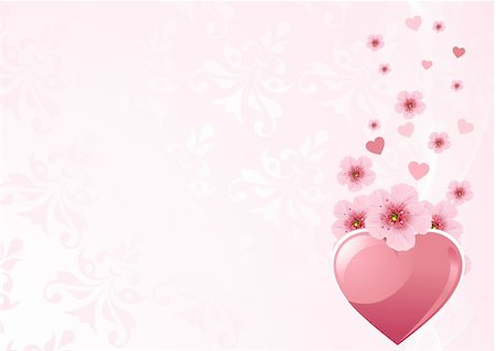 Love heart and pink cherry blossom design Stock Photo - Budget Royalty-Free & Subscription, Code: 400-04789319
