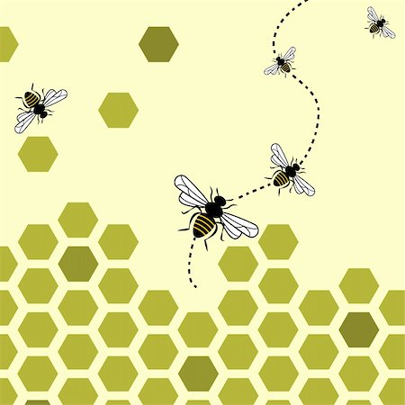 scalable - Abstract background with flying bees and honeycombs Stock Photo - Budget Royalty-Free & Subscription, Code: 400-04789566