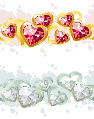 Gold and silver seamless borders with heart-shape gems Stock Photo - Budget Royalty-Free & Subscription, Code: 400-04789782