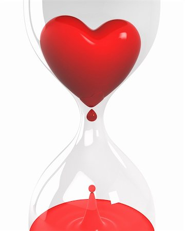 sand clock - Hourglass with heart and blood isolated on white background closeup version Stock Photo - Budget Royalty-Free & Subscription, Code: 400-04780168
