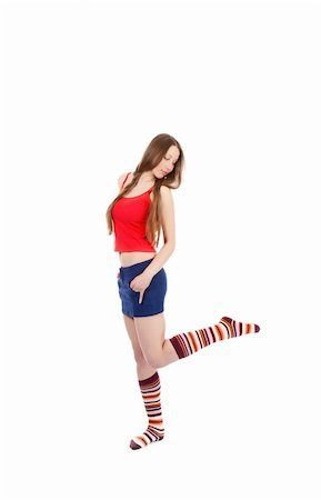 woman legs in strip sock on white background Stock Photo - Budget Royalty-Free & Subscription, Code: 400-04780463
