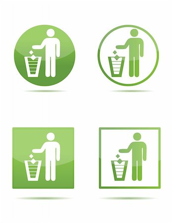 Illustration of Litter signs in green isolated over a white background Stock Photo - Budget Royalty-Free & Subscription, Code: 400-04781741