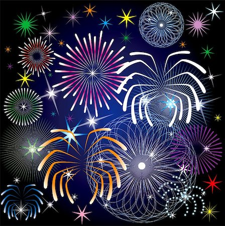pink and purple fireworks - Vector Illustration of colorful fireworks. Stock Photo - Budget Royalty-Free & Subscription, Code: 400-04781803