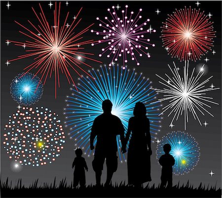 fireworks vector art - vector illustration of a happy family watching fireworks Stock Photo - Budget Royalty-Free & Subscription, Code: 400-04781850