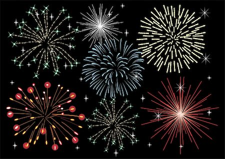 vector illustration of fireworks in the dark sky Stock Photo - Budget Royalty-Free & Subscription, Code: 400-04781851