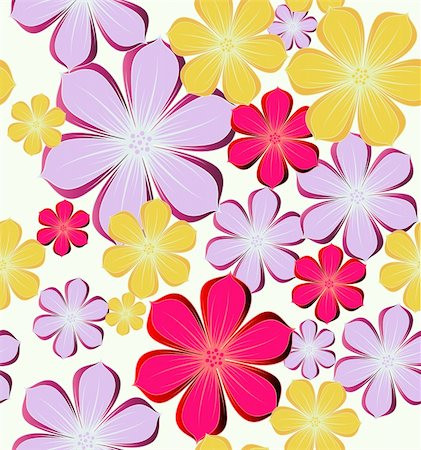 Seamless background with colorful flowers. Vector illustration Stock Photo - Budget Royalty-Free & Subscription, Code: 400-04782371