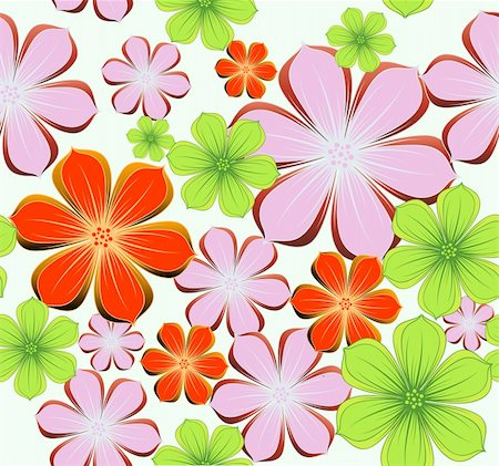 Seamless background with colorful flowers. Vector illustration Stock Photo - Budget Royalty-Free & Subscription, Code: 400-04782372