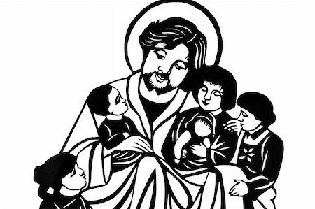 Jesus with children in black-and-white Stock Photo - Budget Royalty-Free & Subscription, Code: 400-04782412