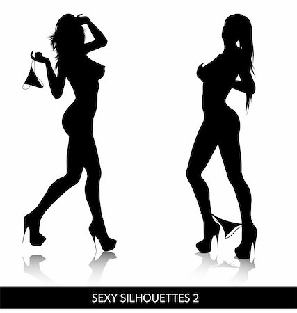 Sexy female silhouettes isolated on white background. Stock Photo - Budget Royalty-Free & Subscription, Code: 400-04783119