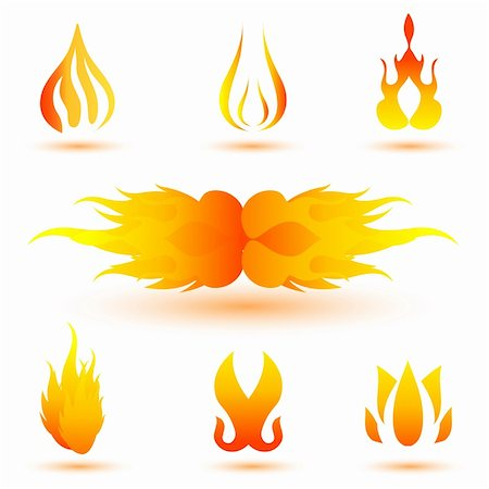 illustration of shapes of fire on white background Stock Photo - Budget Royalty-Free & Subscription, Code: 400-04783569