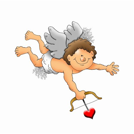 flying hearts clip art - Image of a cupid about to shoot an arrow. Stock Photo - Budget Royalty-Free & Subscription, Code: 400-04783770