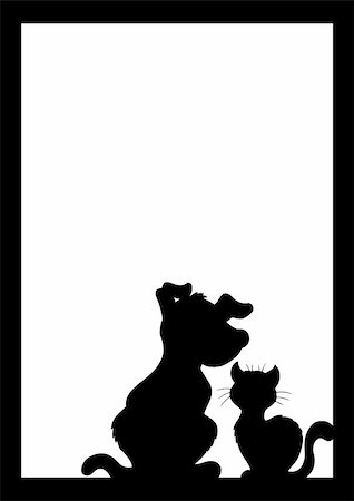 Frame with cat and dog silhouette - vector illustration. Stock Photo - Budget Royalty-Free & Subscription, Code: 400-04783957