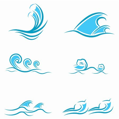 illustration of sea waves on white background Stock Photo - Budget Royalty-Free & Subscription, Code: 400-04794654