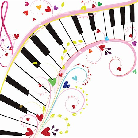 stave - Piano keyboard on a white background with notes and hearts for Valentine holiday Stock Photo - Budget Royalty-Free & Subscription, Code: 400-04794837