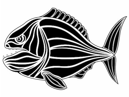 piranha fish - Abstract piranha in the form of a tattoo Stock Photo - Budget Royalty-Free & Subscription, Code: 400-04795128