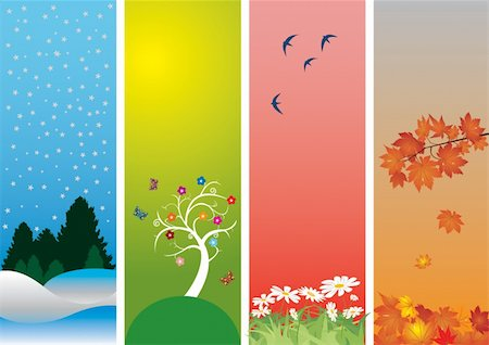 Four Seasons. Colorful style to vector illustration. Winter, spring, summer and autumn Stock Photo - Budget Royalty-Free & Subscription, Code: 400-04795736