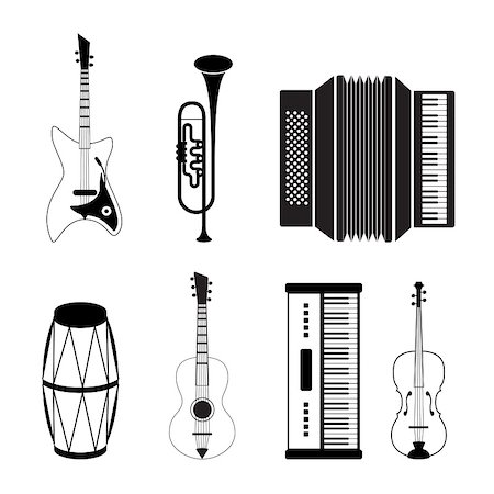 silhouette musical symbols - Musical instrument icons - vector icon set Stock Photo - Budget Royalty-Free & Subscription, Code: 400-04795882